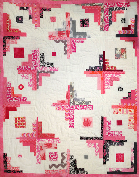 "Victoria's Quilt. 40"" x 50"" commercial and hand-dyed cottons. ""Converging Corners"" block."